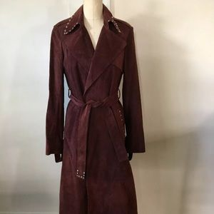 Brown leather Theory trench coat